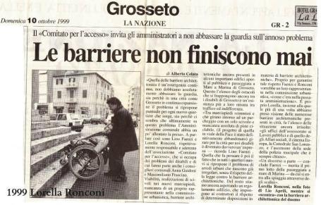 Lorella Ronconi - Roberto Bergamaschi, ottobre 1999 - Il Tirreno - bariere architettoniche